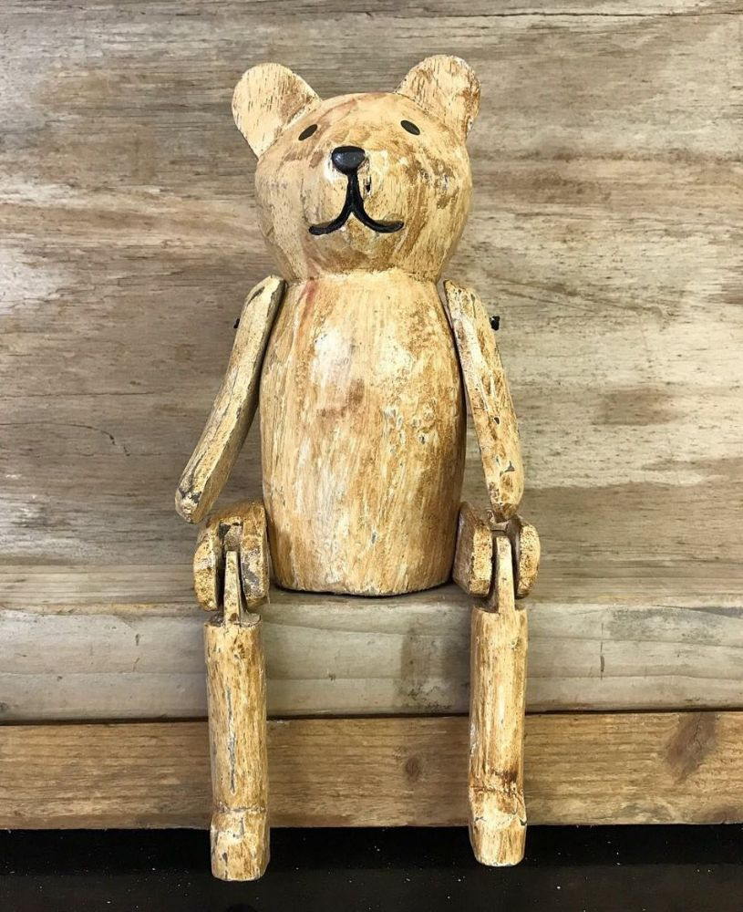 Old Fashioned Teddy Bear Vintage Finish Wooden Puppet Ornament 30 cm